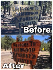 Entrance Sign Before and After