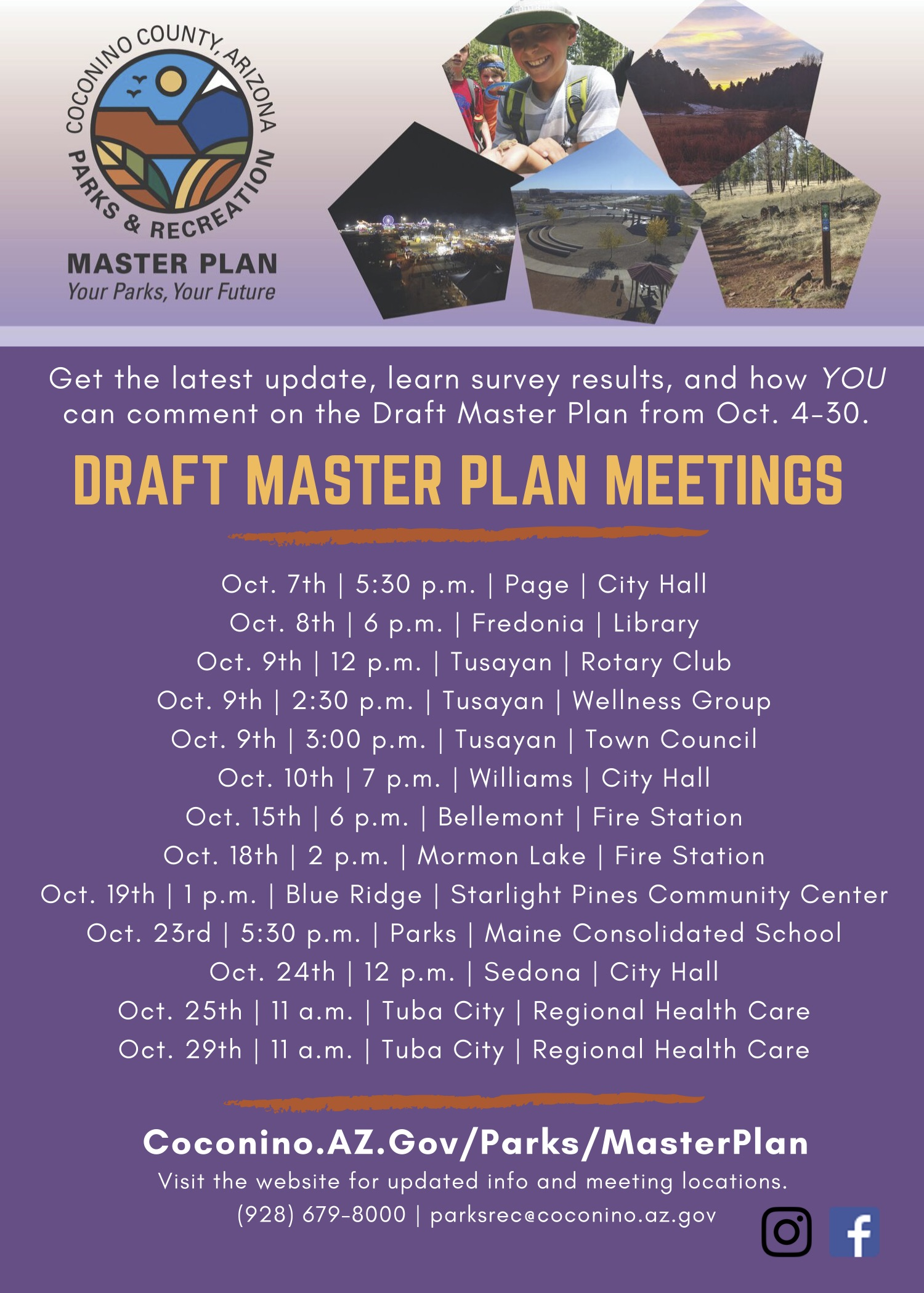 Master Plan Draft Plan meetings flyer_Coconino Cnty